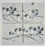 4 Ceramic Coasters in Laura Ashley Winter Garden Birds
